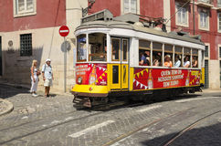 Tram by the Lisbon street Stock Photo