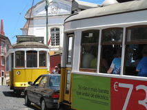 Tram in Lisbon. Two classic trams of Lisbon Stock Image