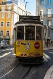 Tram in Lisbon. Yellow tram stock image