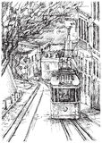 Tram in Lissabon Stockfotografie