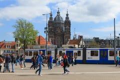 Tram (Local light rail transportation) heading to Amsterdam central station Stock Image