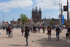 Tram (Local light rail transportation) heading to Amsterdam central station Stock Photos