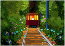Tram in the magic forest. Royalty Free Stock Image