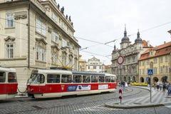 Public transfer in Prague, Czech Republic. Tram at Mala Strananear the Charles Bridge in Prague, Czech Republic. The tram and metro system is the best and royalty free stock photo