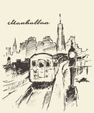Tram Manhattan New York vector drawn sketch Royalty Free Stock Photography