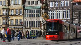 Tram on market square in Bremen, Germany stock photography