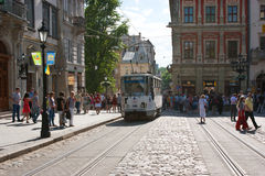 The tram on the Market Square Stock Images