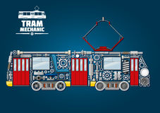 Tram mechanics icon made up of mechanical parts. Town tram mechanics icon for public transportation service design usage with tramcar made up of mechanical gears stock illustration