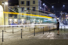 The Tram of Milan city, summer night. Color image Stock Photos