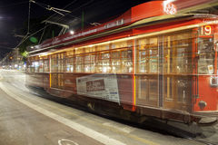 The Tram of Milan city, summer night. Color image Stock Images