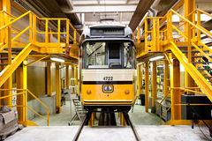 Tram in Milan's ATM depot Royalty Free Stock Photos