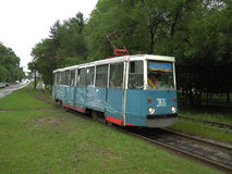 The tram of 71-605 model in Khabarovsk. The tram of 71-605 model on Amur boulevard Stock Images