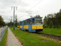 The tram of 71-605 model in Khabarovsk. The tram of 71-605 model on Amur boulevard near the railway station Stock Images