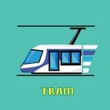 Tram Modern City Public Transport. Flat Vector Illustration Stock Images