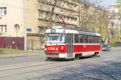 Tram in Moscow streets. trackless trolley. Tramway in Moscow. trackless trolley Royalty Free Stock Image