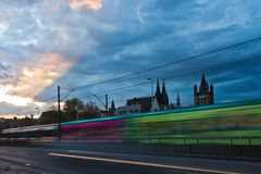 Tram in motion blur at dusk Stock Images