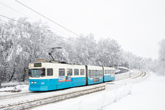 Tram with motion blur. Stock Photos