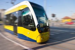 Tram in motion blur on the street Stock Photo
