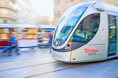 The tram in motion Royalty Free Stock Photo