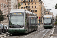 Tram on the Move in Rome Stock Images