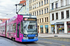 Tram moves through central part of Leipzig Royalty Free Stock Photos