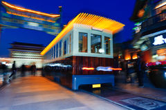 Tram moving alone the Beijing Qianmen Street Royalty Free Stock Images