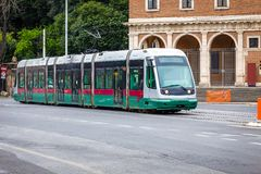 Tram moving in the center of Rome, Stock Image