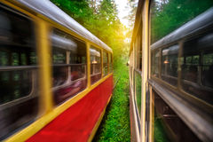 Tram moving thought sunny forest. Tram moving thought green sunny forest Stock Image