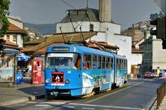 Tram by Muslihudin Cekrekcija Mosque, Sarajevo, Bosnia Herzegovina Royalty Free Stock Images