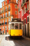 Tram on narrow street of Alfama, Lisbon Stock Image