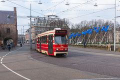 Tram near the Dutch parliament buildings in The Hague, The Netherlands Royalty Free Stock Image