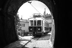 Tram near the tunnel. Royalty Free Stock Photography