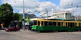 Tram nel centro di Helsinki, Finlandia Immagini Stock