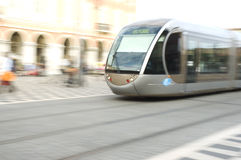 Tram in Nice. Tram speeds through Nice in the South of France royalty free stock photos