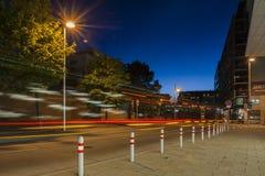 Tram at night in Prague Stock Image