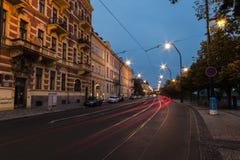 Tram at night in Prague Royalty Free Stock Image