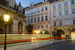 Tram at night in Prague Stock Photography