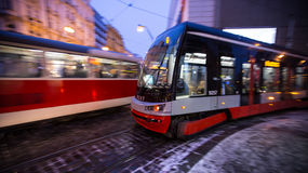 Tram at night in Prague, panning effect. Stock Image