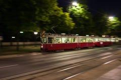 Tram at night Stock Image
