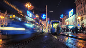 Tram at night in Zagreb Royalty Free Stock Photography