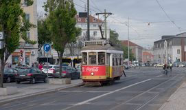 Tram No. 18 Ajuda of Lisbon, Portugal. Historic classic red tram of Lisbon built partially of wood now used for tourist tours, Portugal Royalty Free Stock Images