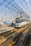 Tram no1. stationed in Basarb overpass station Royalty Free Stock Images