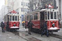 Tram nostalgici al giorno di Snowy Fotografia Stock