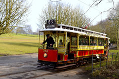 Tram number 765 being driven in Heaton Park Royalty Free Stock Photos