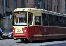 Tram number 40 in St-Petersburg. SAINT-PETERSBURG, RUSSIA - APRIL 5, 2017 - Tram number 40 on Chapaev street in St-Petersburg, Russia Stock Photo