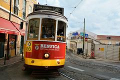 Tram numero 40 a Lisbona Fotografie Stock Libere da Diritti