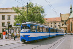 Tram in old part of Krakow Stock Photography