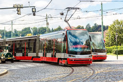 Tram at old street in Prague Royalty Free Stock Photography