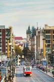 Tram at old street in Prague Royalty Free Stock Image