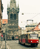 Tram at old street in Prague Royalty Free Stock Images